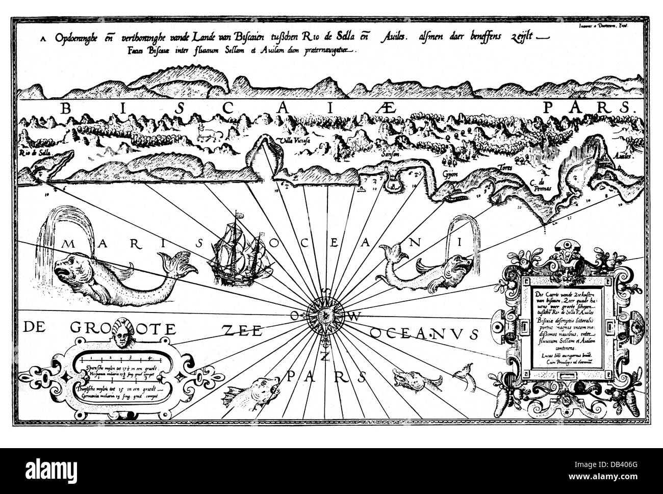 cartography, sea charts, north coast of Spain, Bay of  Biscay, map by Lucas Janszoon Waghenaer 'Spieghel der - Stock Image
