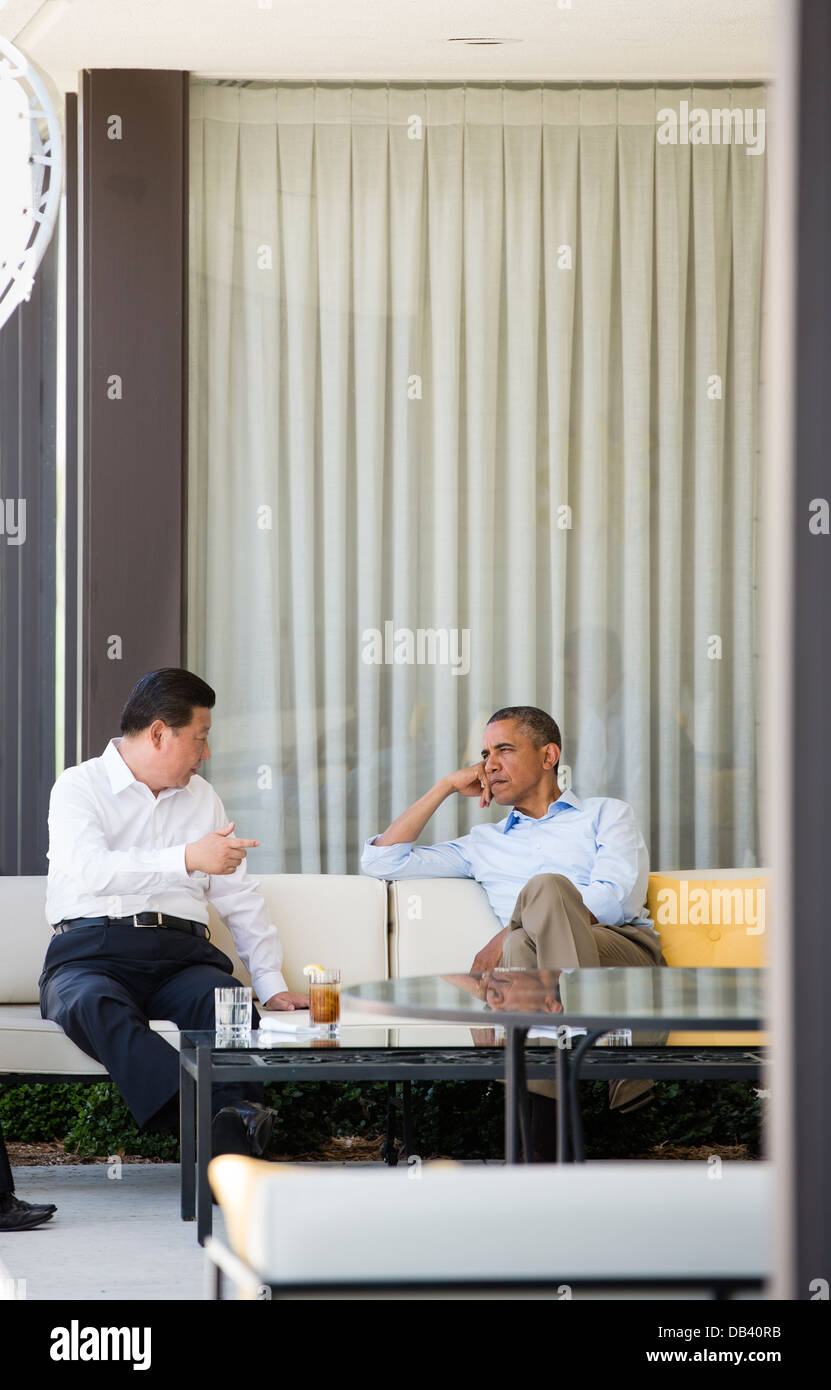 President Barack Obama and President Xi Jinping of the People's Republic of China talk before their bilateral - Stock Image