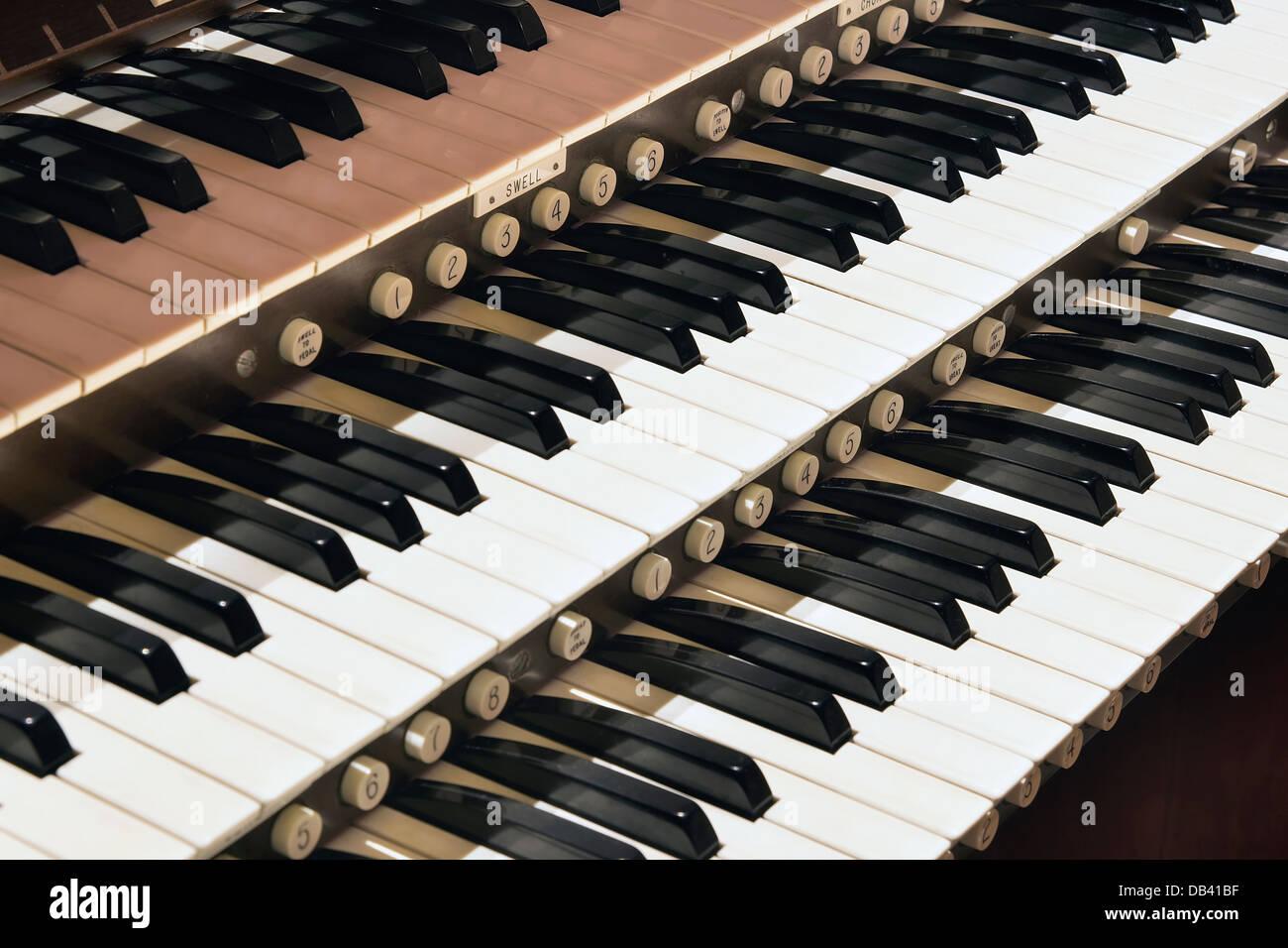 Church Pipe Organ Keyboard Closeup Macro - Stock Image