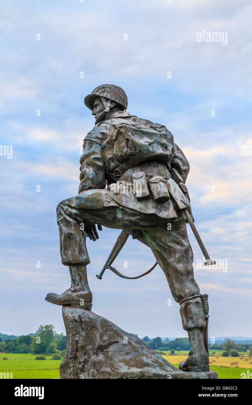 Iron Mike Statue commemorating US airborne soldiers during Normandy Invasion, France - Stock Image