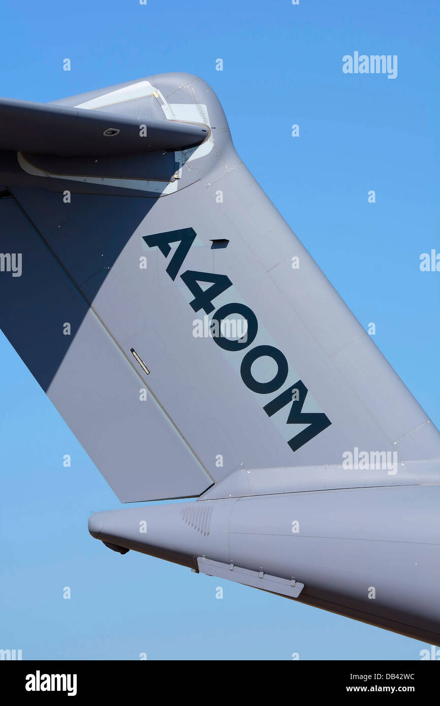 FIN AND TAILPLANE OF AN AIRBUS A400M, CALLED ATLAS BY THE RAF, MILITARY TRANSPORT AIRCRAFT - Stock Image