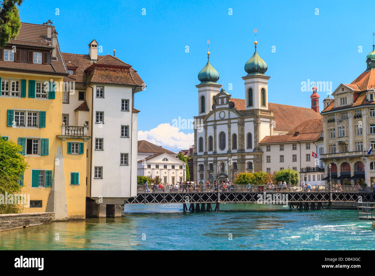 Lucerne city view with river Reuss and Jesuit church, Switzerland - Stock Image