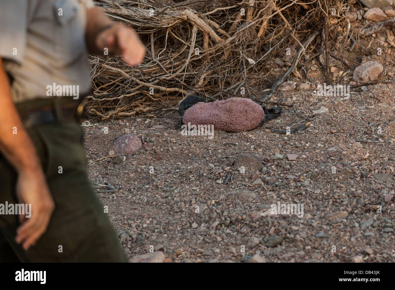 June 13, 2013 - Lukeville, Arizona, United States - An abandoned carpet bootie sits on the desert floor in a closed Stock Photo