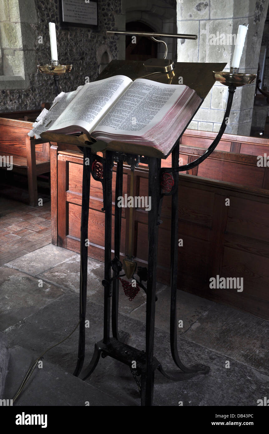 A metal lectern in a village church Dorset UK - Stock Image
