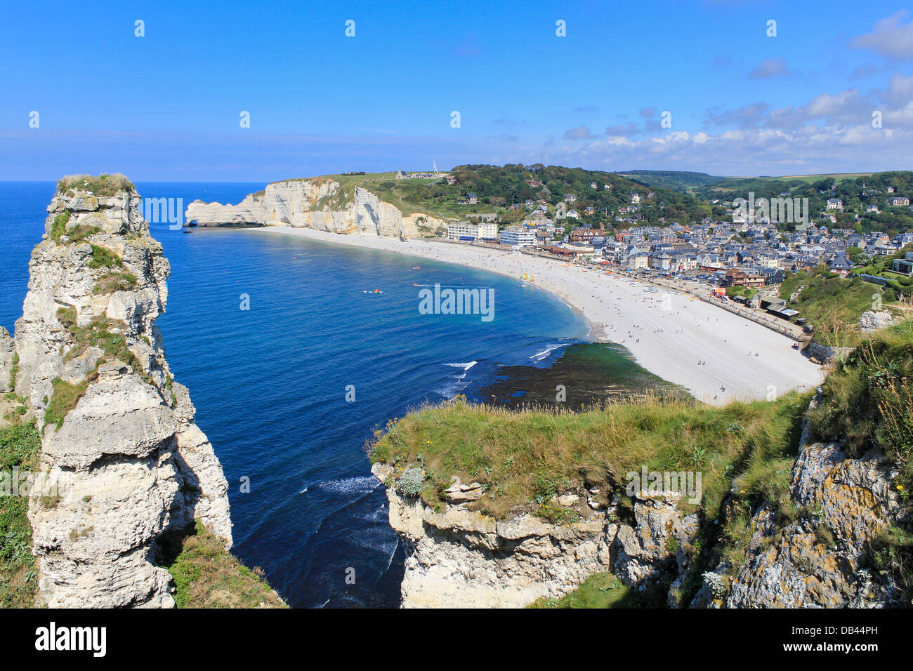 Etretat, aerial view of village on Normandy coast, France - Stock Image