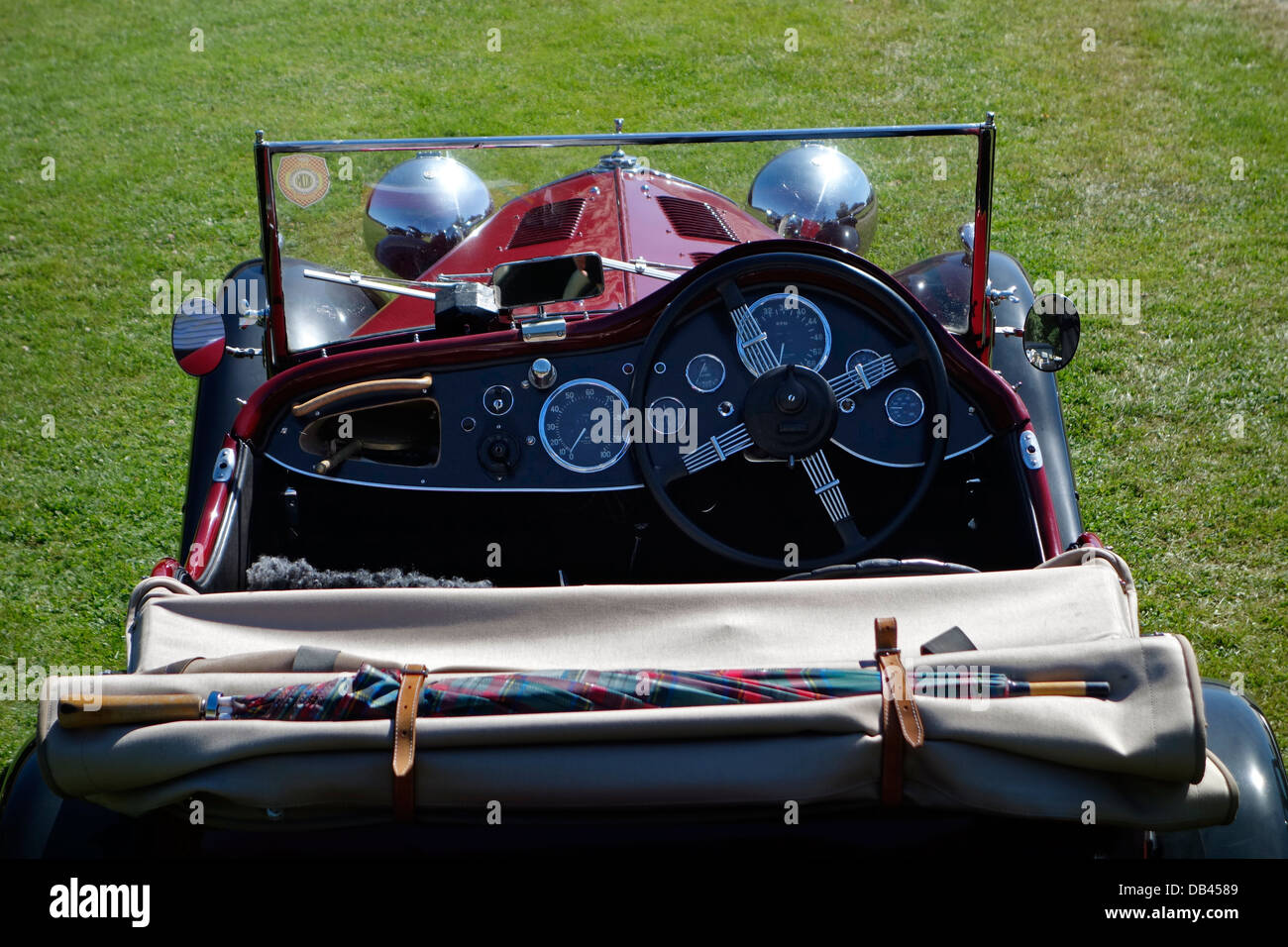 Back view of cockpit and dashboard of Wolseley Hornet Special. - Stock Image