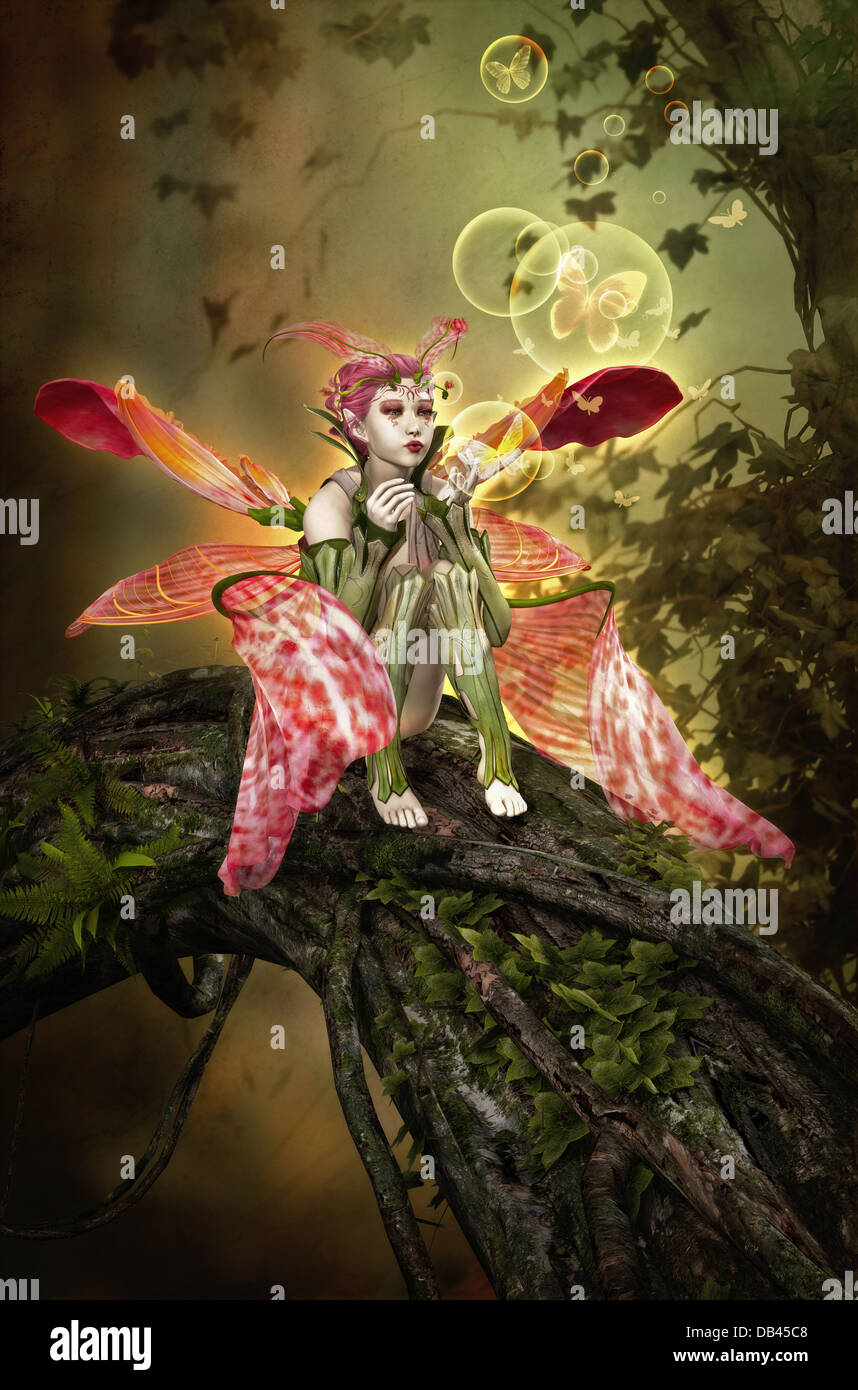 3D computer graphics of a fairy sitting on a tree trunk and blows bubbles and butterflies - Stock Image