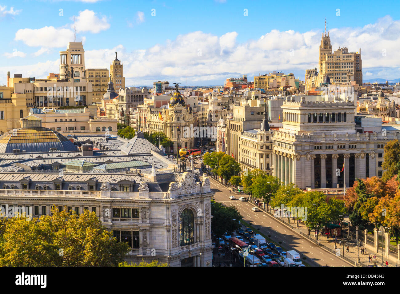 Madrid cityscape and aerial view of of Gran Via shopping street, Spain - Stock Image