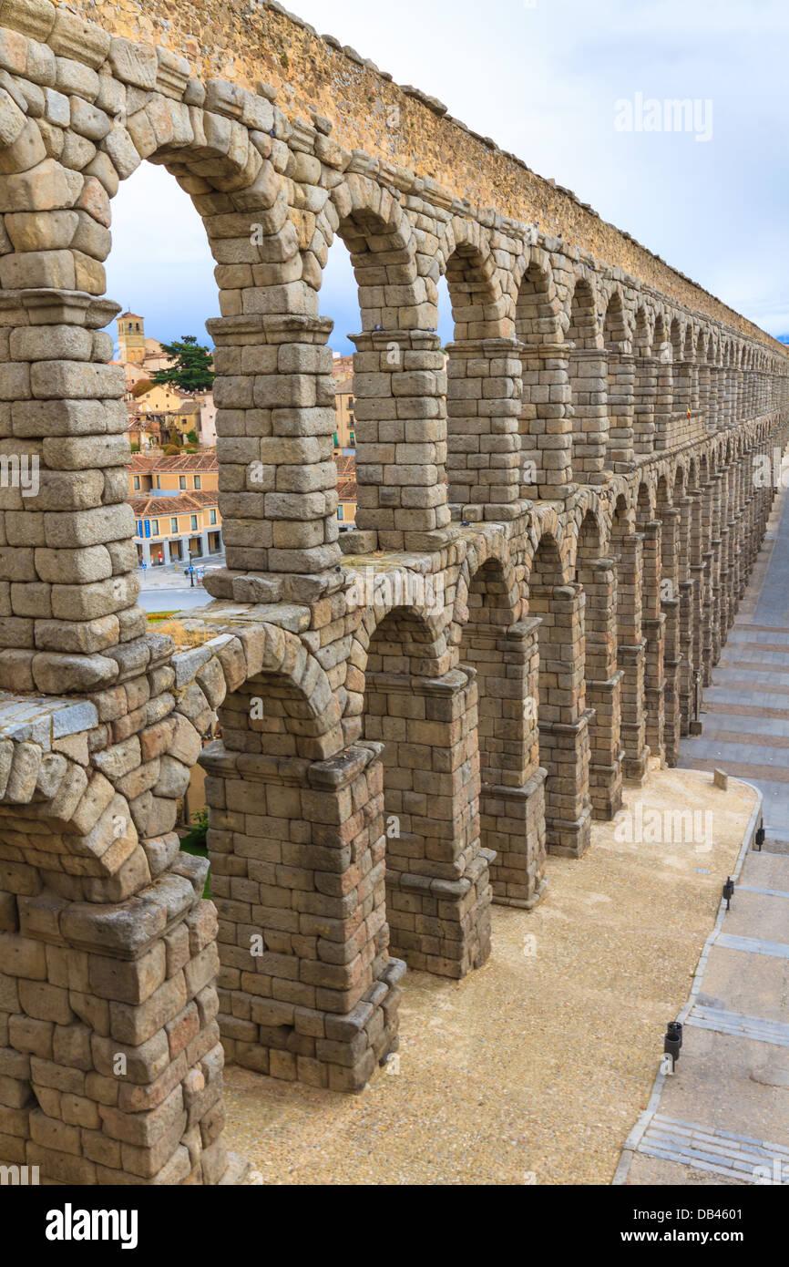 Roman aqueduct in Segovia (Spain) - Stock Image