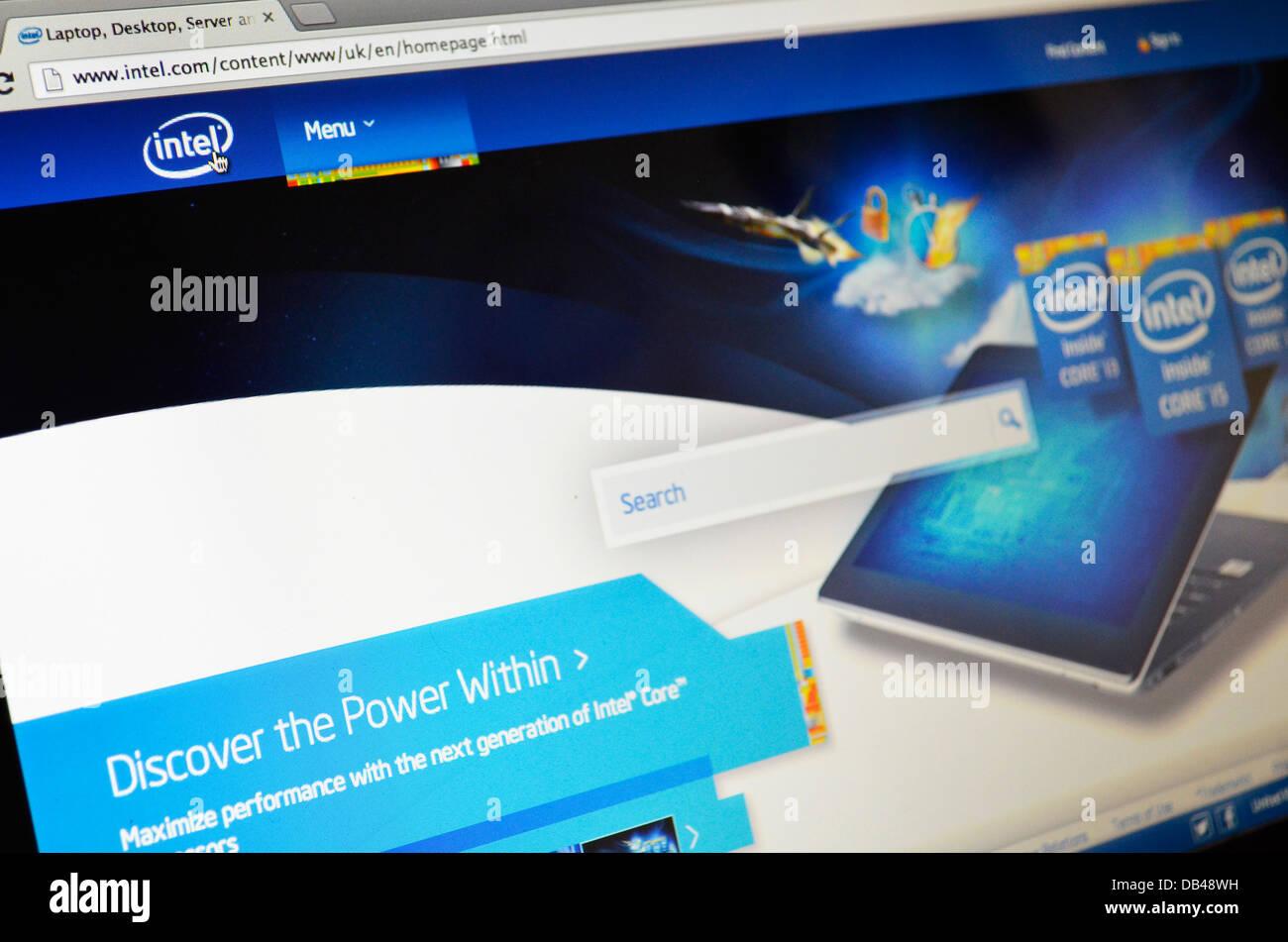 Intel computer website - Stock Image
