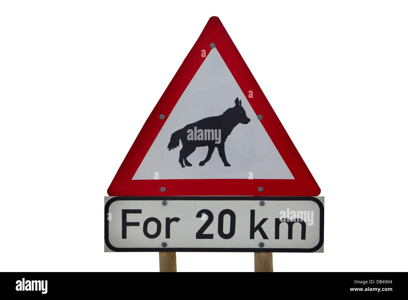 Brown Hyena road warning, Southern Namibia, Africa Stock Photo