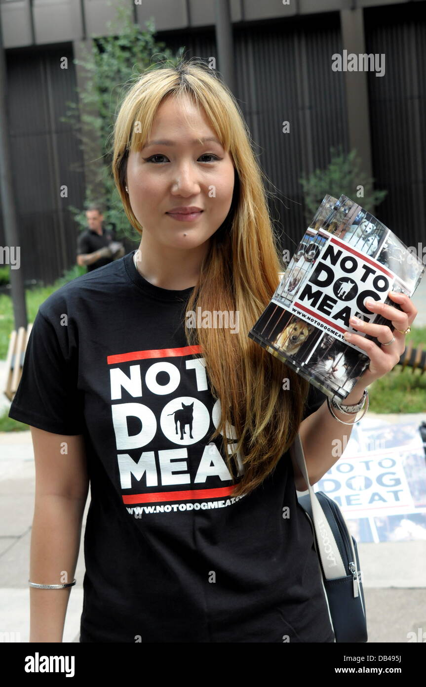 Actives holding placards written 'NO TO DOG MEAT' protest against the South Korea over the next sixty days - Stock Image