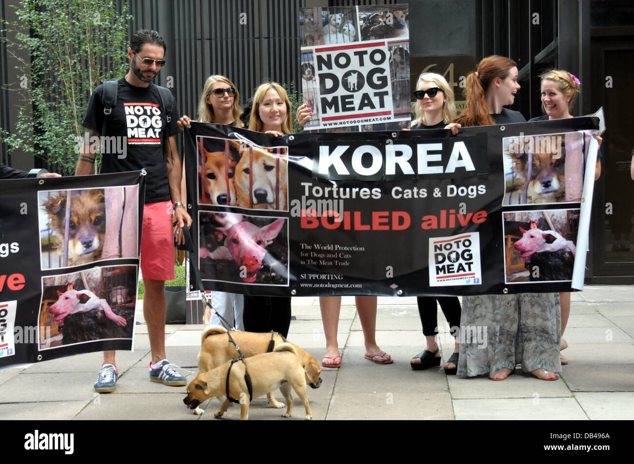 Actives waving a Korean flag and holding placards protest against South Korean of the fifteen thousand dogs will - Stock Image
