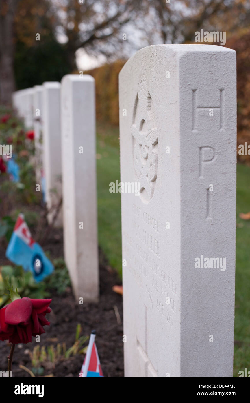 Close-up of headstones in a row (side view) in Commonwealth War Graves Commission (CWGC) cemetery - Stonefall Cemetery, Stock Photo