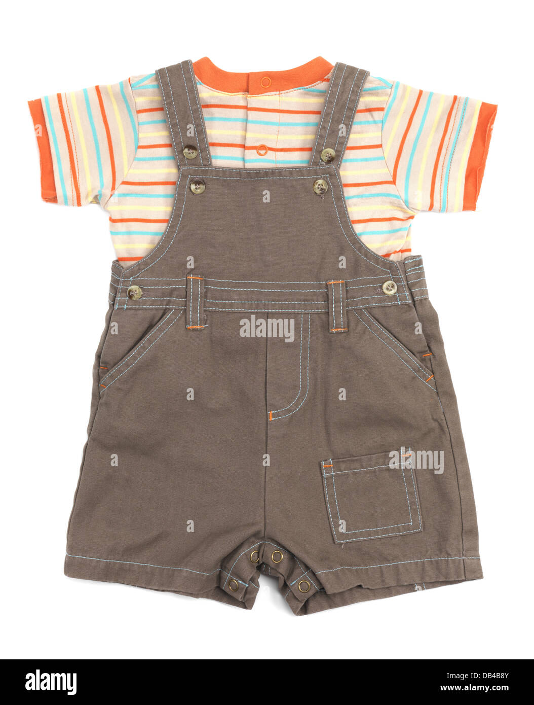 702500234071 Baby overalls and a shirt set of clothes isolated on white ...