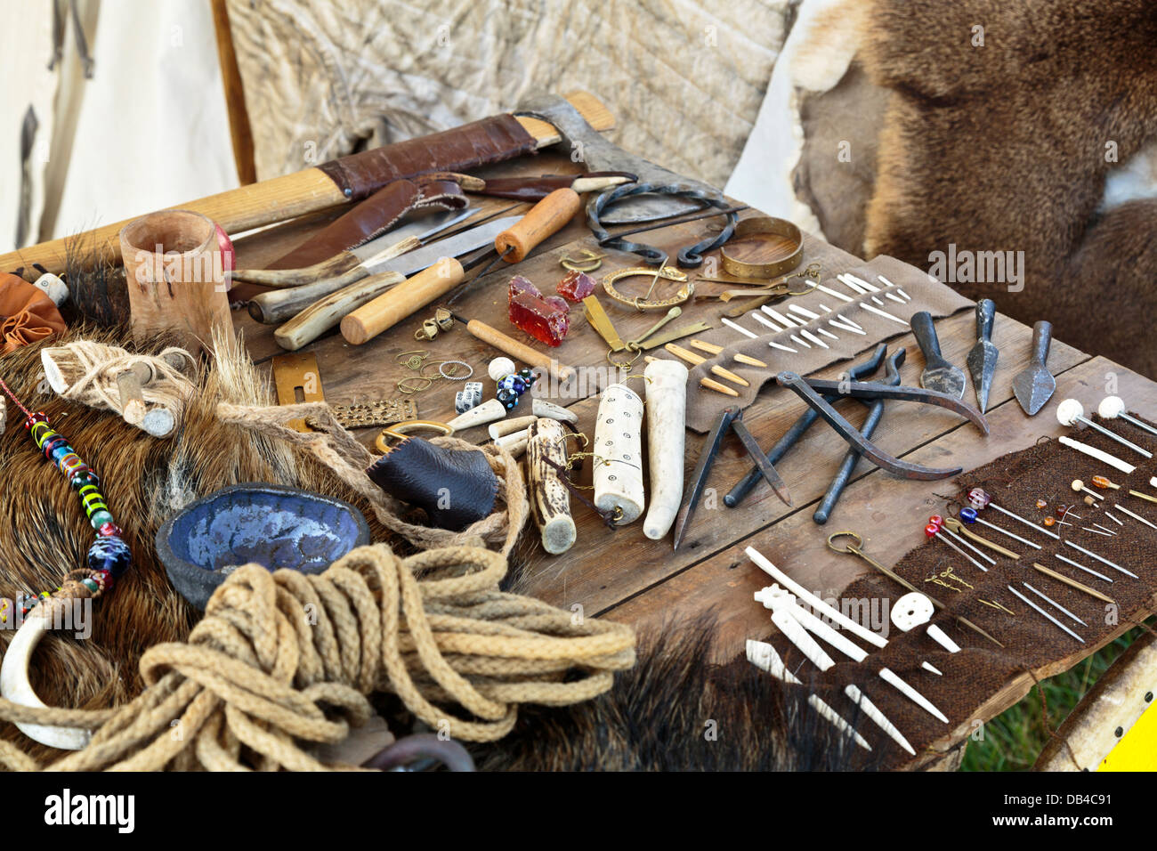 Viking Trader Items For Sale At Flag Fen Archaeological Park Stock Photo Alamy
