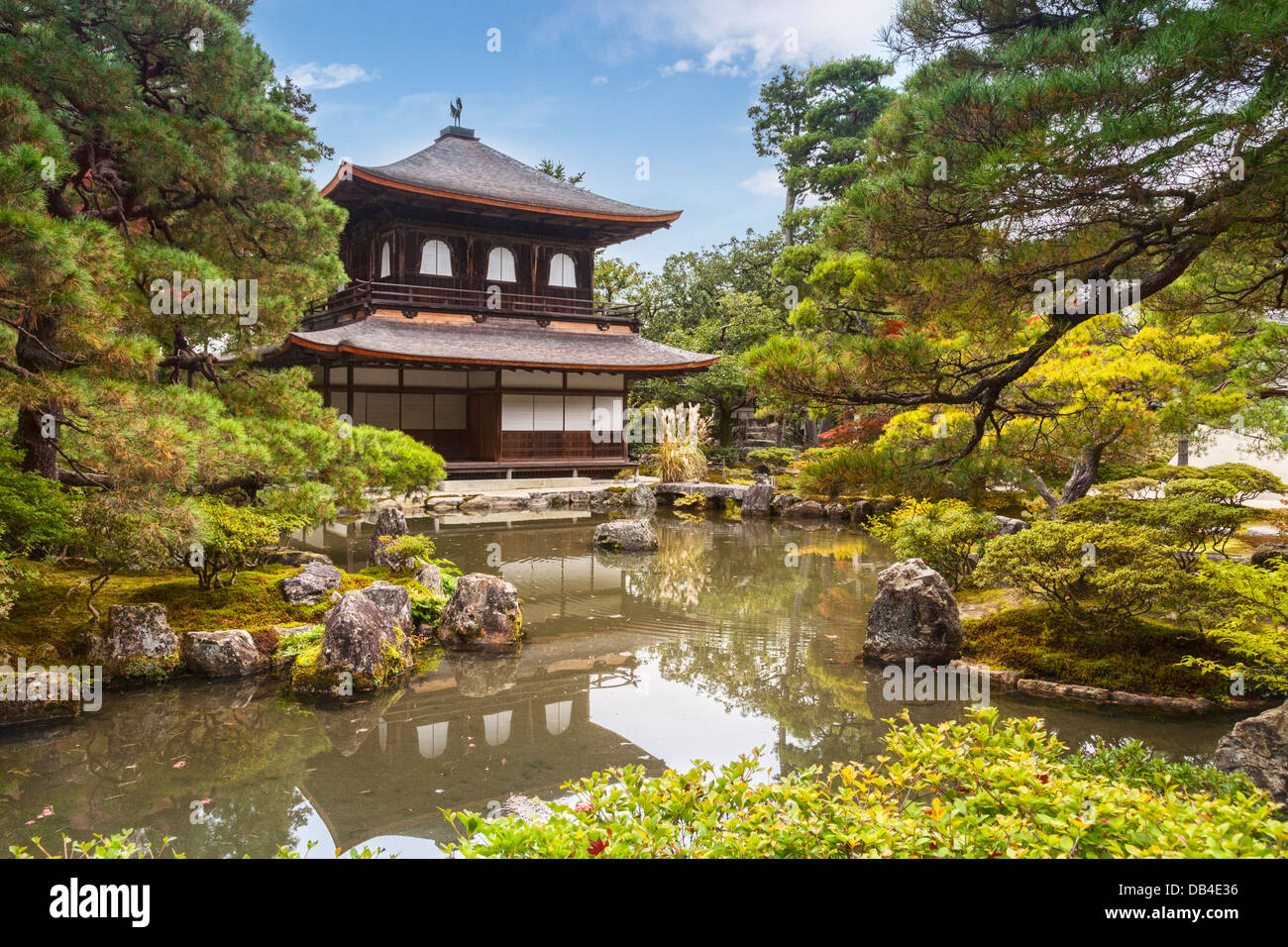 The Silver Pavilion of the temple of Ginkaku-ji or Jisho-ji in Kyoto, seen in autumn. This Zen Buddhist temple is - Stock Image