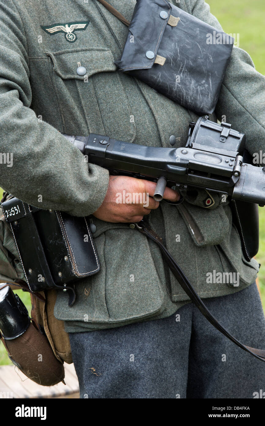 WW2 German army soldier with machine gun. Historical re enactment. - Stock Image