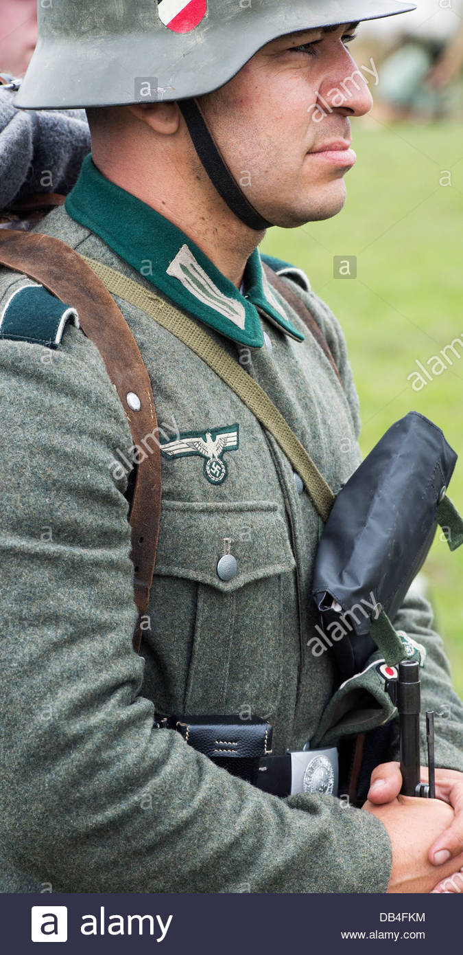 WW2 German army soldier. Historical re enactment. - Stock Image
