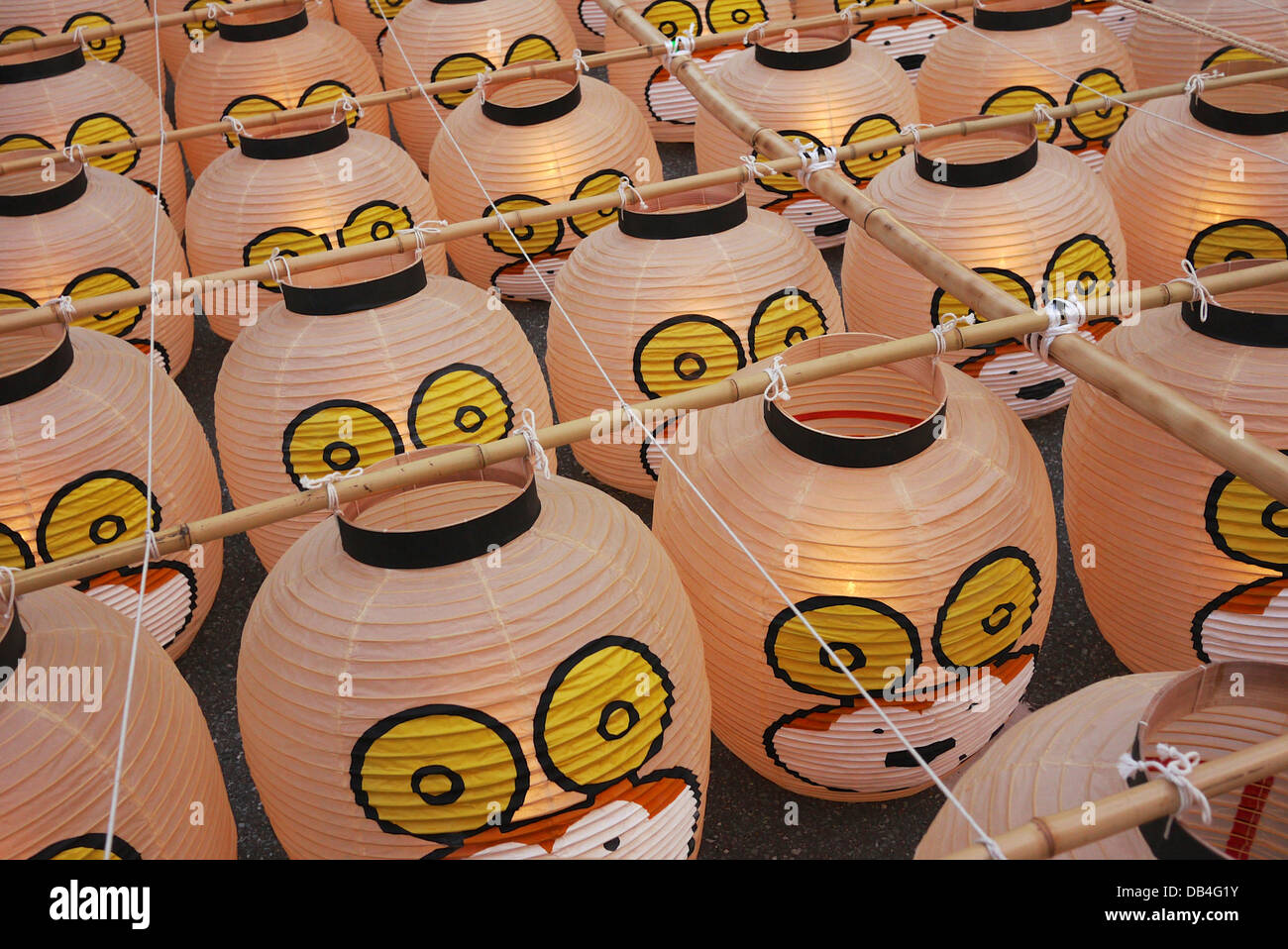 Traditional Japanese Lanterns tied to bamboo poles for the Akita Kanto Festival Stock Photo