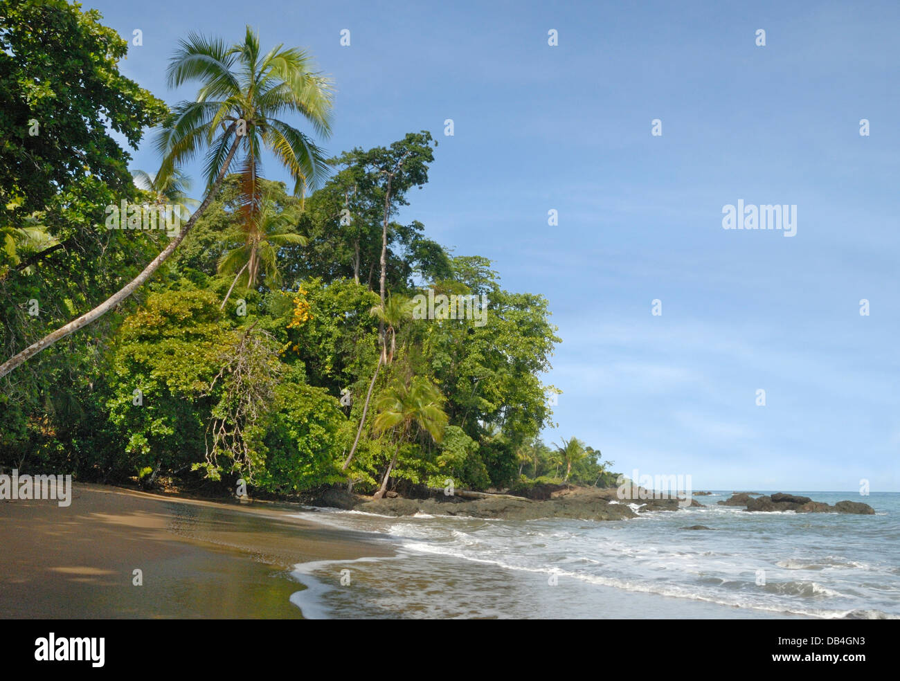 Tropical Beach in Corcovado National Park, Costa Rica - Stock Image