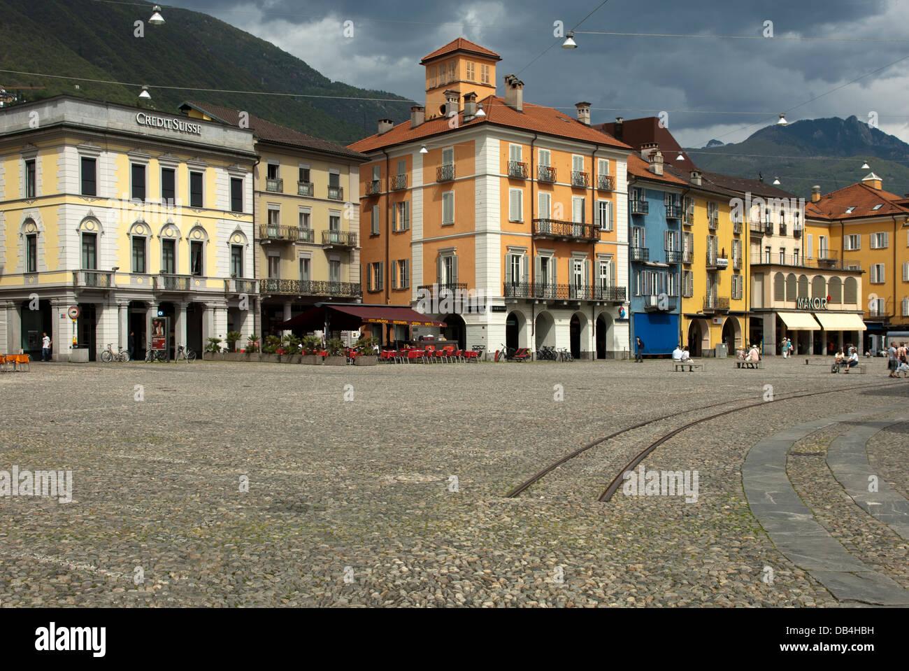 Cobblestone pavement on the main square Piazza Grande, Locarno,Ticino, Switzerland - Stock Image