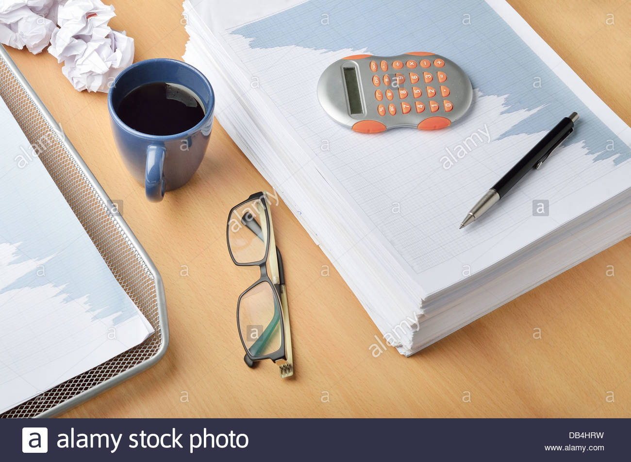 Working late and short deadlines at office - Stock Image