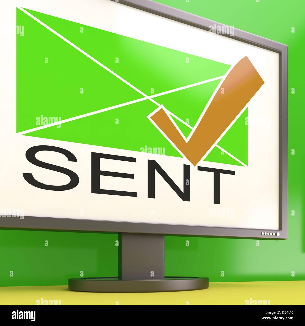Sent Envelope On Monitor Showing Delivered Messages - Stock Image