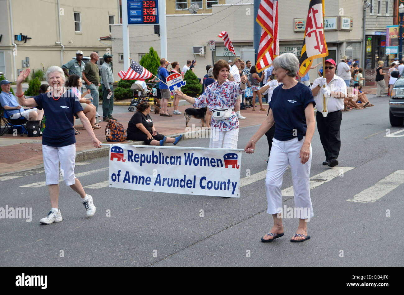 Republican women group march in the July4 parade in Annapolis, Maryland - Stock Image
