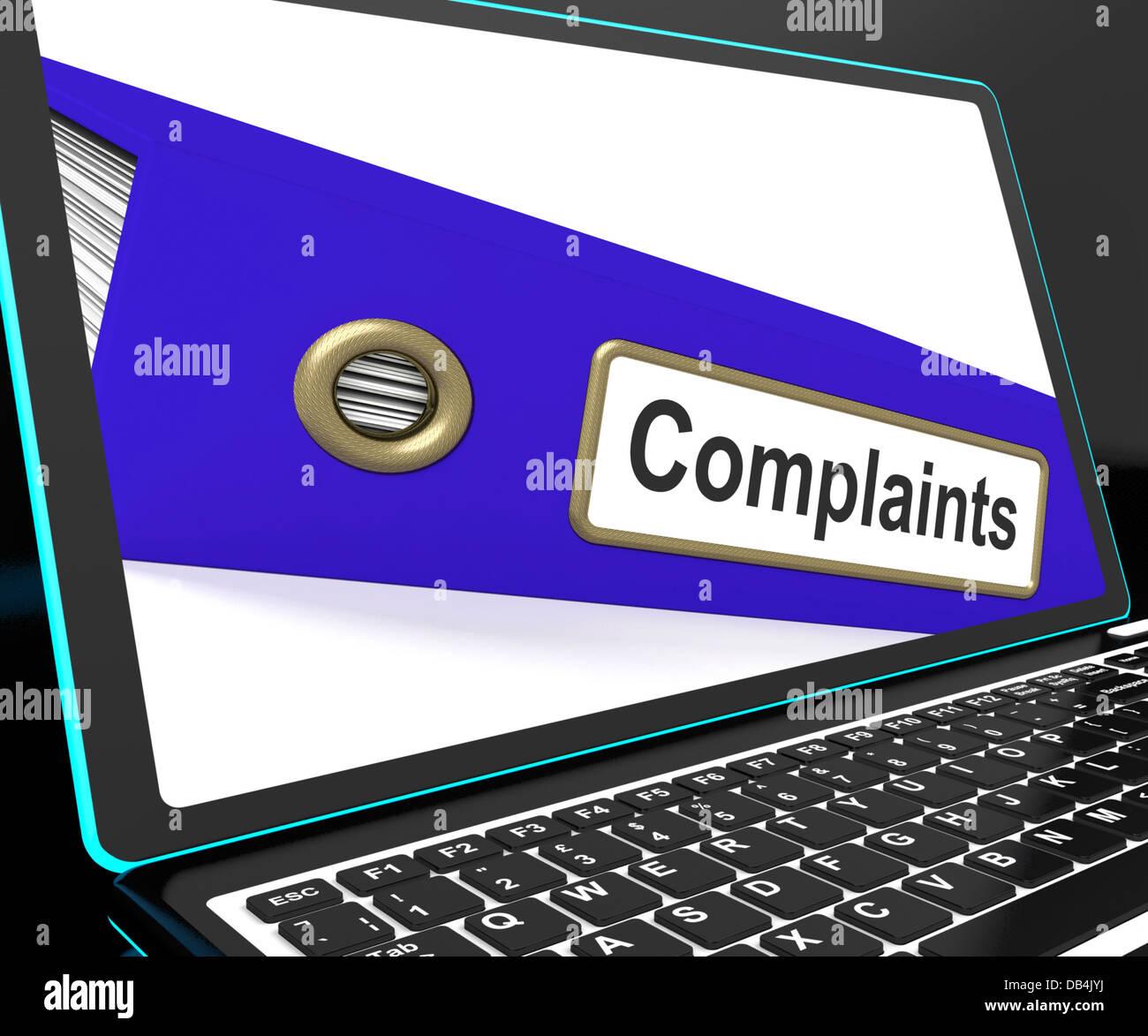 Complaints File On Laptop Shows Complaints - Stock Image
