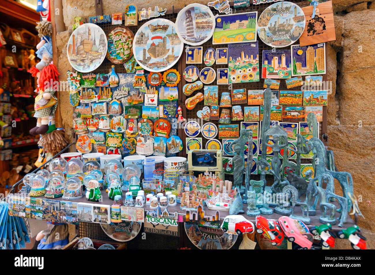 Souvenir shop in San Gimignano, Italy - Stock Image