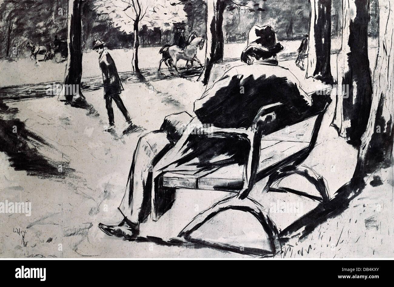 fine arts, Ury, Lesser (1861 - 1931), graphic, 'Newspaper reader with felt hat' ('Zeitungsleser mit - Stock Image