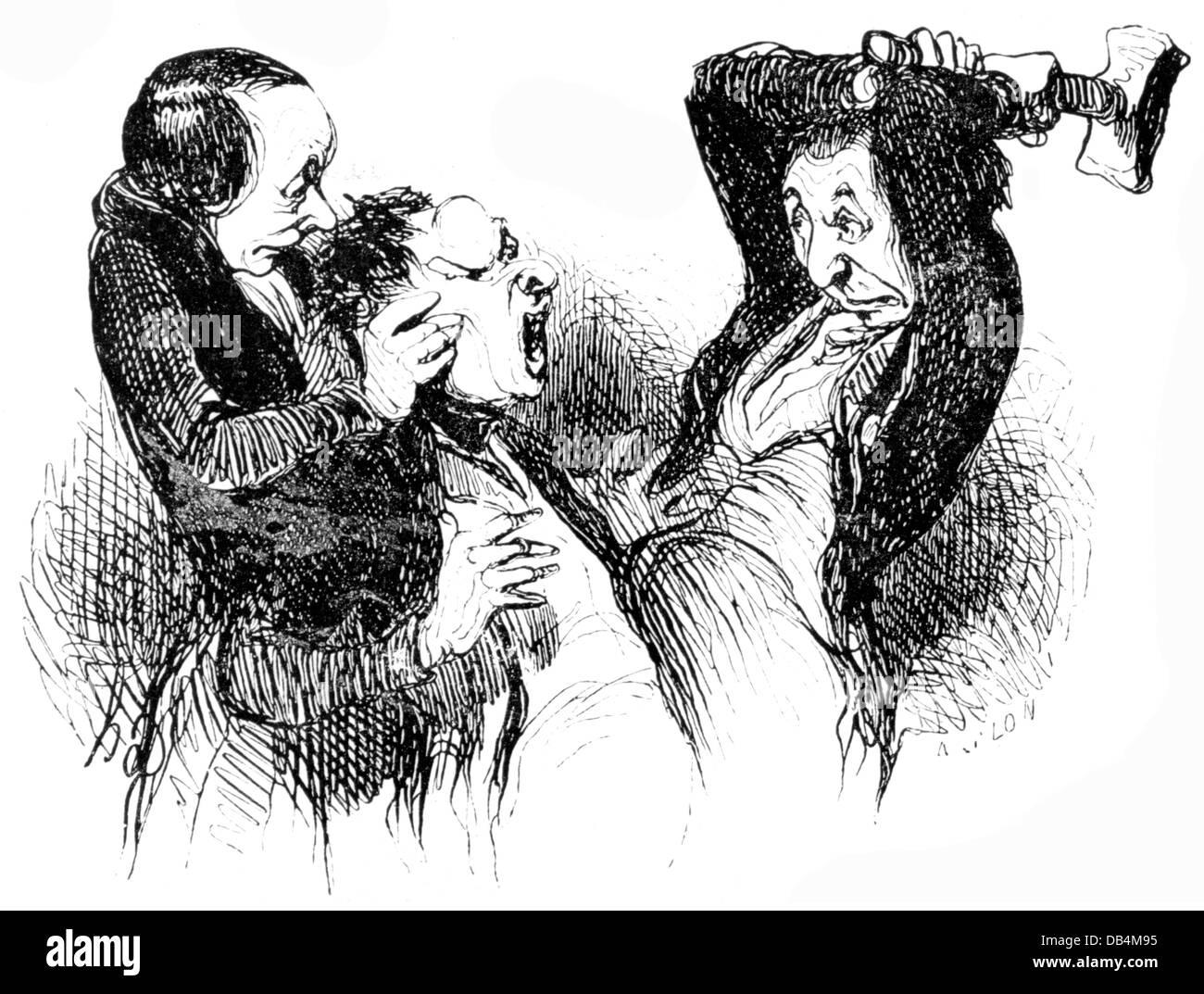 medicine, homeopathy / allopathy, 'Simile simili, c'est la loi de nature' (Simile simili, that's - Stock Image