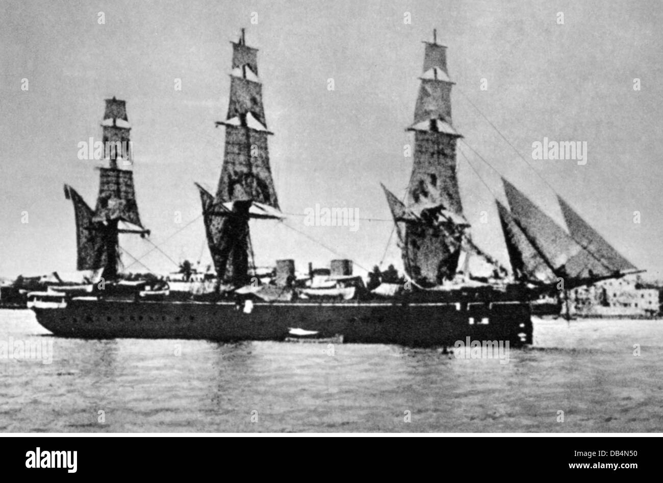 colonialism, Africa, German East Africa, corvette 'Leipzig' at Zanzibar, 1888, Additional-Rights-Clearences - Stock Image