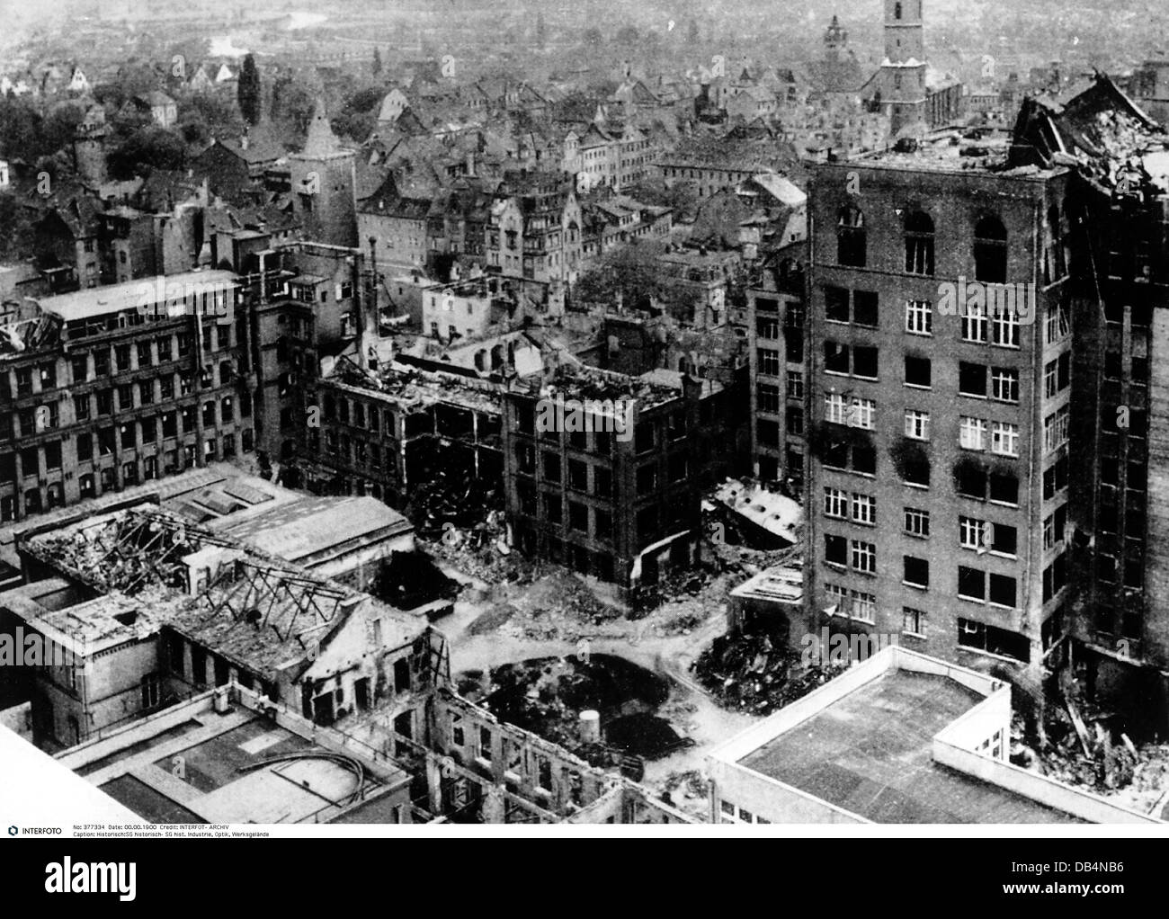 industry, optics, factory premises, Carl Zeiss GmbH, Jena, destroyed buildings after the bomb attack, 19.3.1945, - Stock Image
