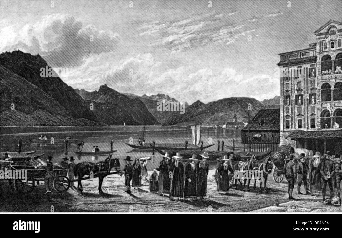 geography / travel, Austria, Gmunden, squares, Seeplatz, lithograph by Jakob Alt (1789 - 1872), 1825, Additional - Stock Image