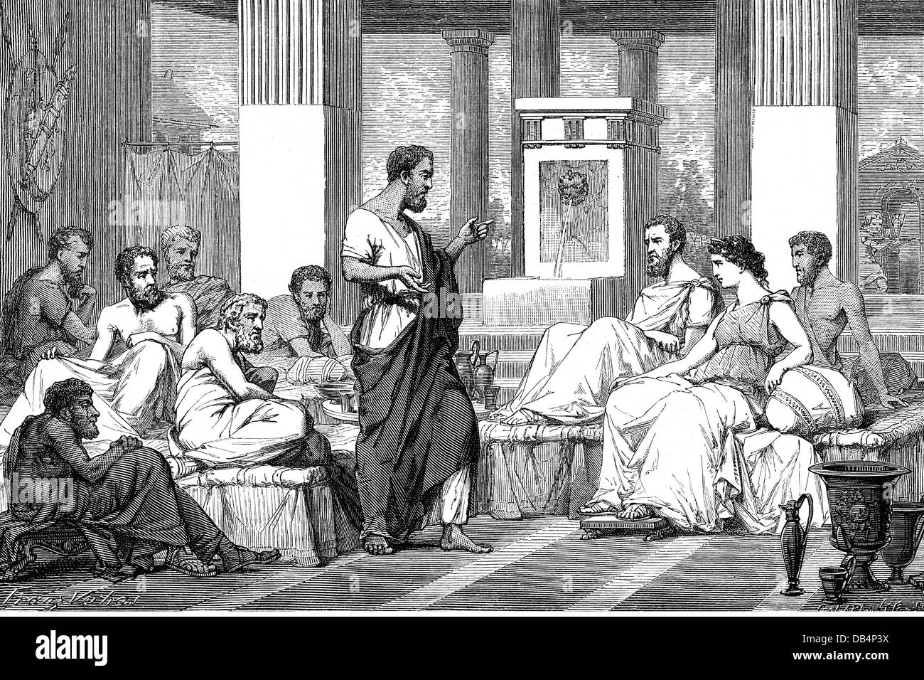 The Seven Sages of Greece, symposia of the seven wise man, Thales of Miletus, Bias of Priene, Periander of Corinth, Stock Photo