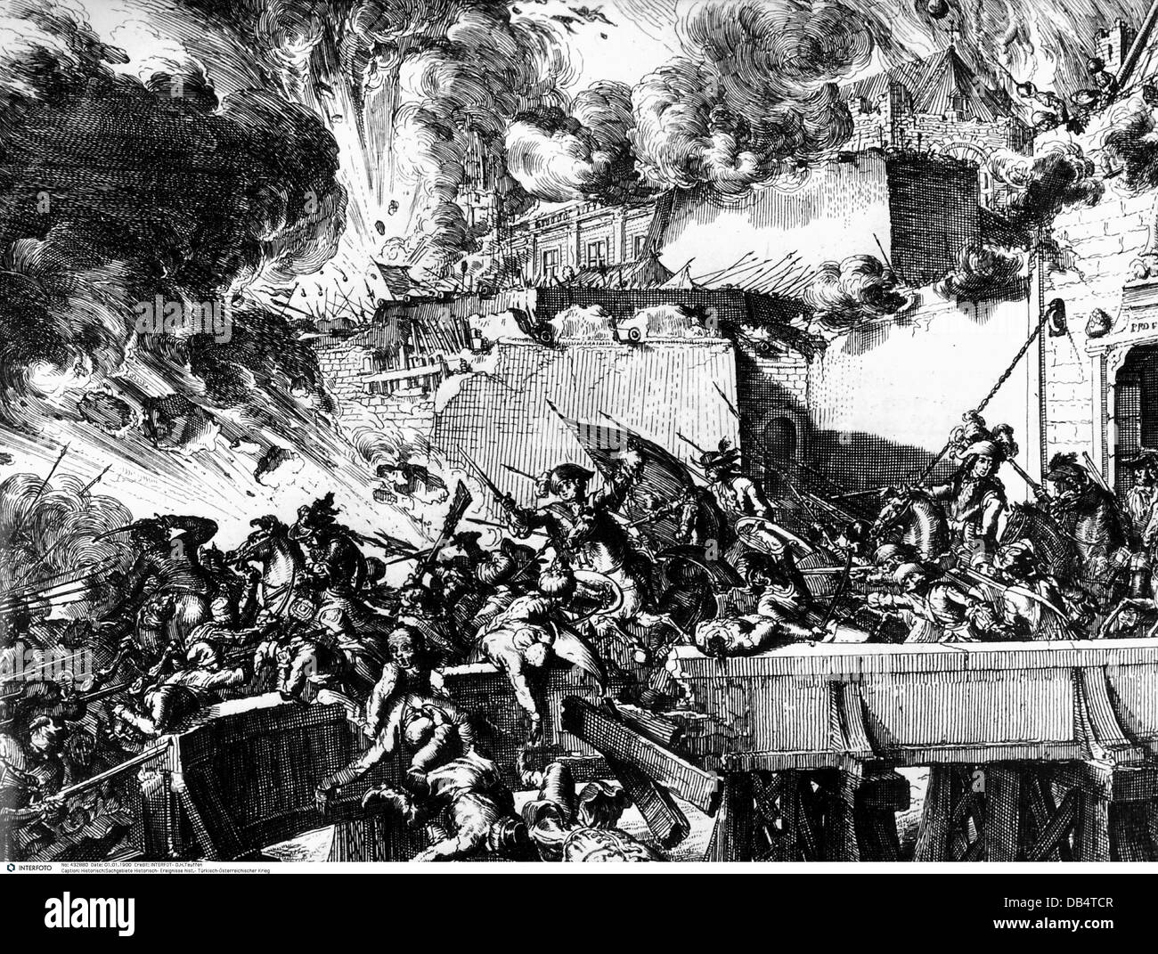Ottoman-Habsburg War 1683 - 1689, Siege of Vienna 1683, relief of the occupying forces, contemporary copper engraving, - Stock Image