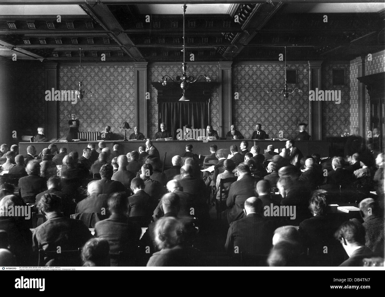 Beer Hall Putsch 1923, trial at People's Court, Munich 1, opening, chief judge Dr.Georg Neithardt, only permitted Stock Photo