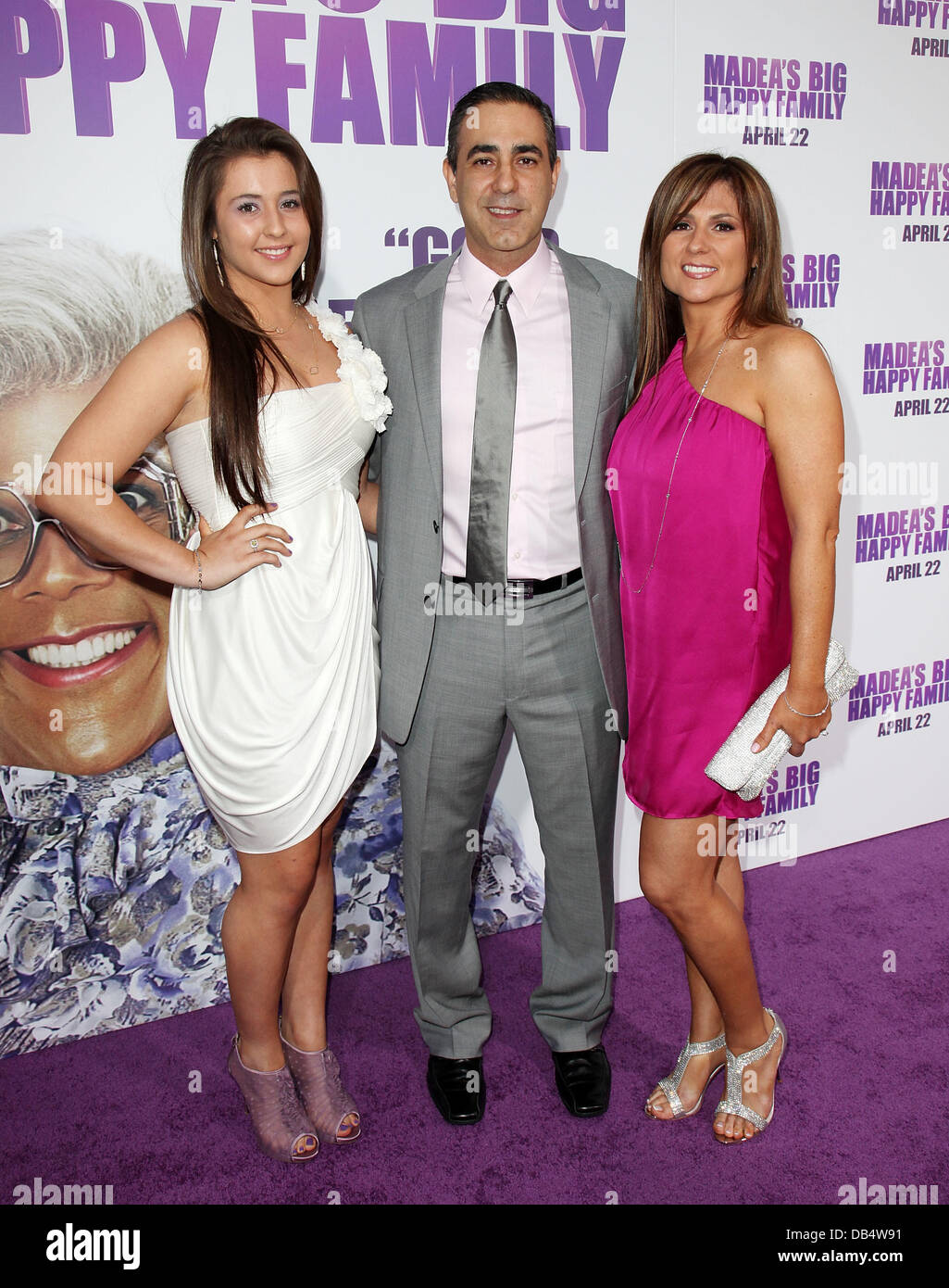 Producer Ozzie Areu and family Los Angeles Premiere of 'Tyler Perry's Madea's Big Happy Family' - Stock Image