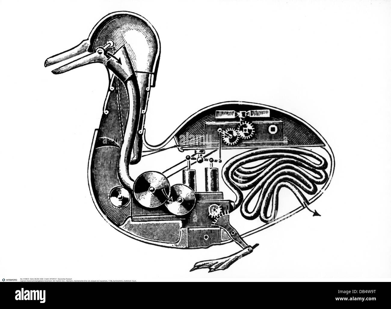 technics, mechanics, mechanical duck by Jacques de Vaucanson, 1738, Additional-Rights-Clearences-Not Available Stock Photo
