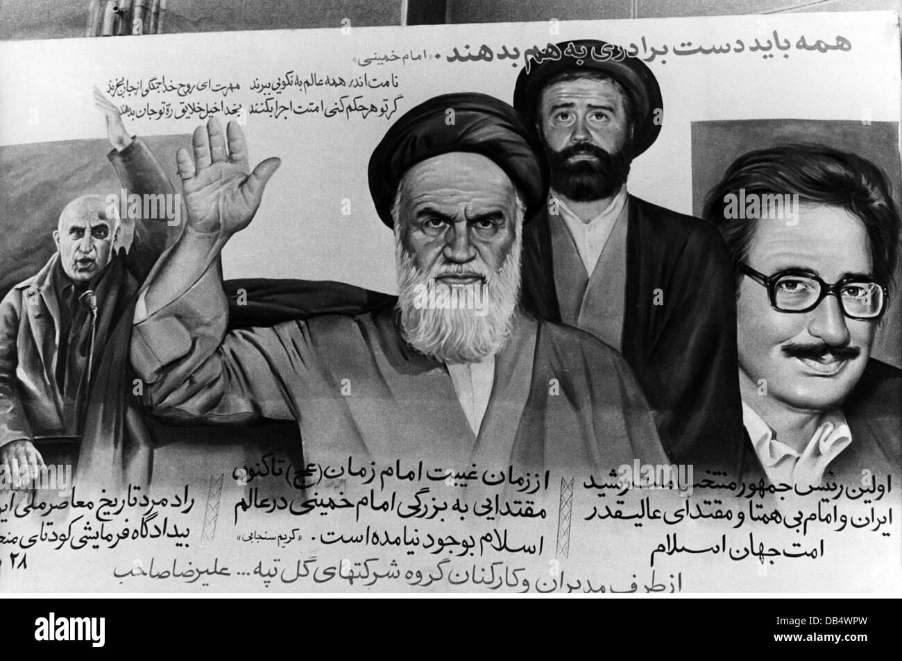 politics, propaganda, poster with the Iranian leaders Muhammed Mossadegh, ayatollah Ruhollah Khomeini, Ahmed Khomeini, - Stock Image