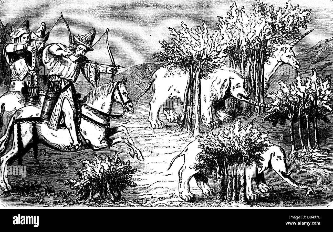 hunting, hunting on horse, Mongolian hunters hunting elephants and unicorns, after miniature, from: 'Livre de - Stock Image