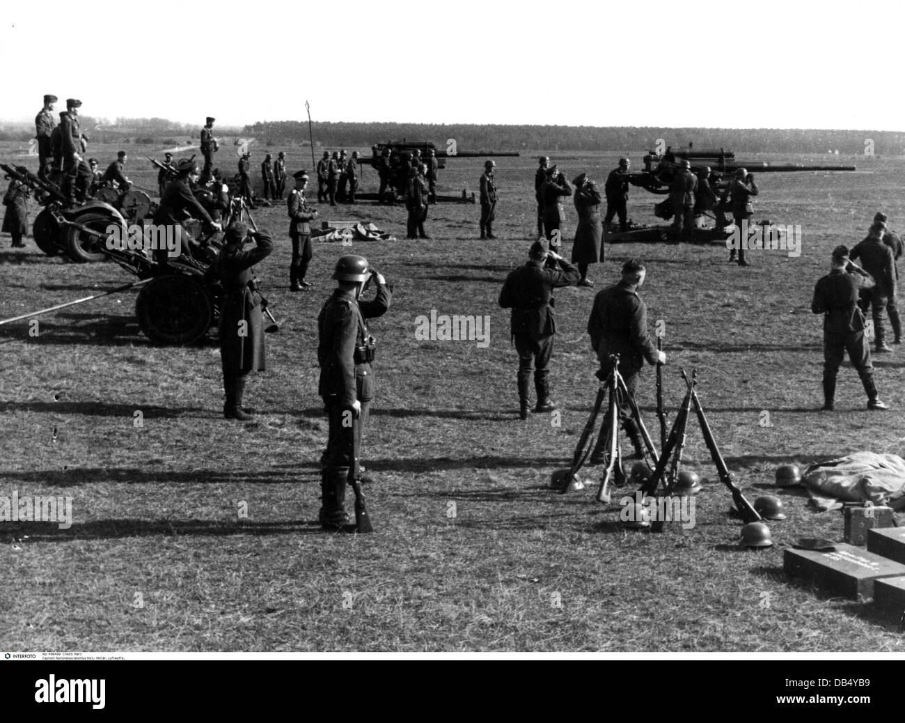 Nazism / National Socialism, military, Wehrmacht, Luftwaffe 1933 - 1945, anti-aircraft artillery battery during - Stock Image