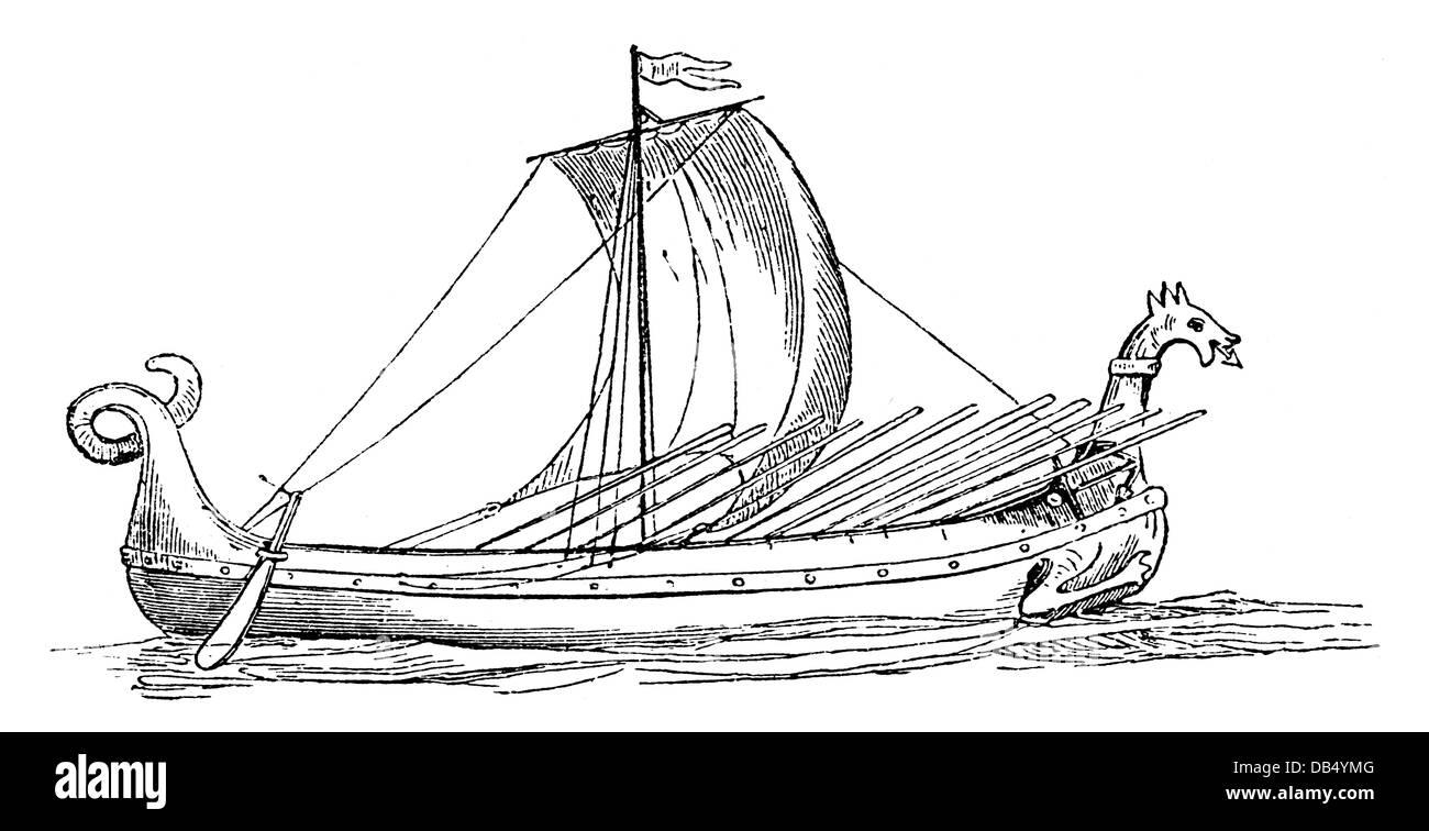 transport / transportation, navigation, Vikings, Viking ship, 9th / 10th century, wood engraving, late 19th century, - Stock Image