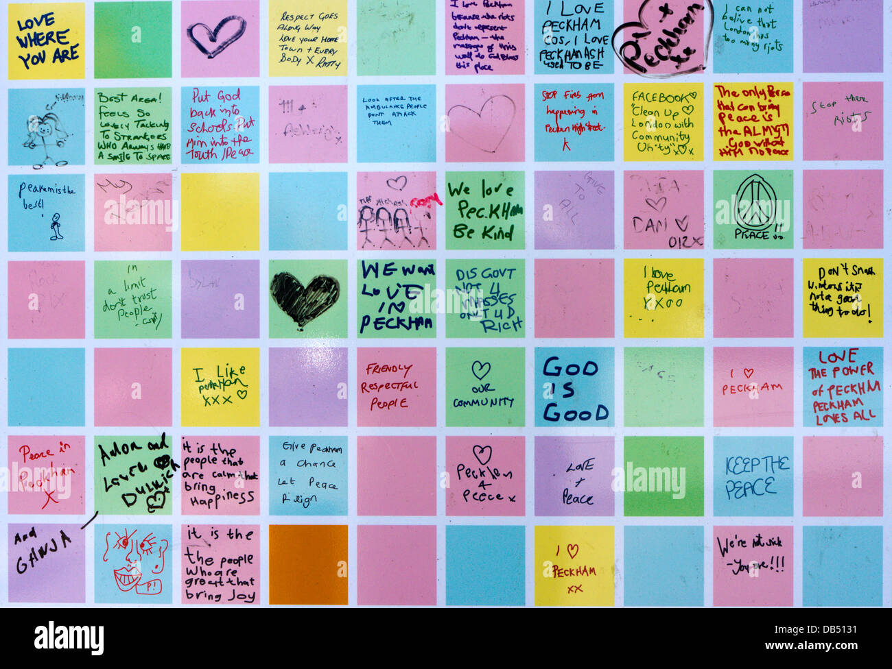 The Peckham Peace Wall was created as a commemoration of the community spirit which followed the 2011 riots. - Stock Image