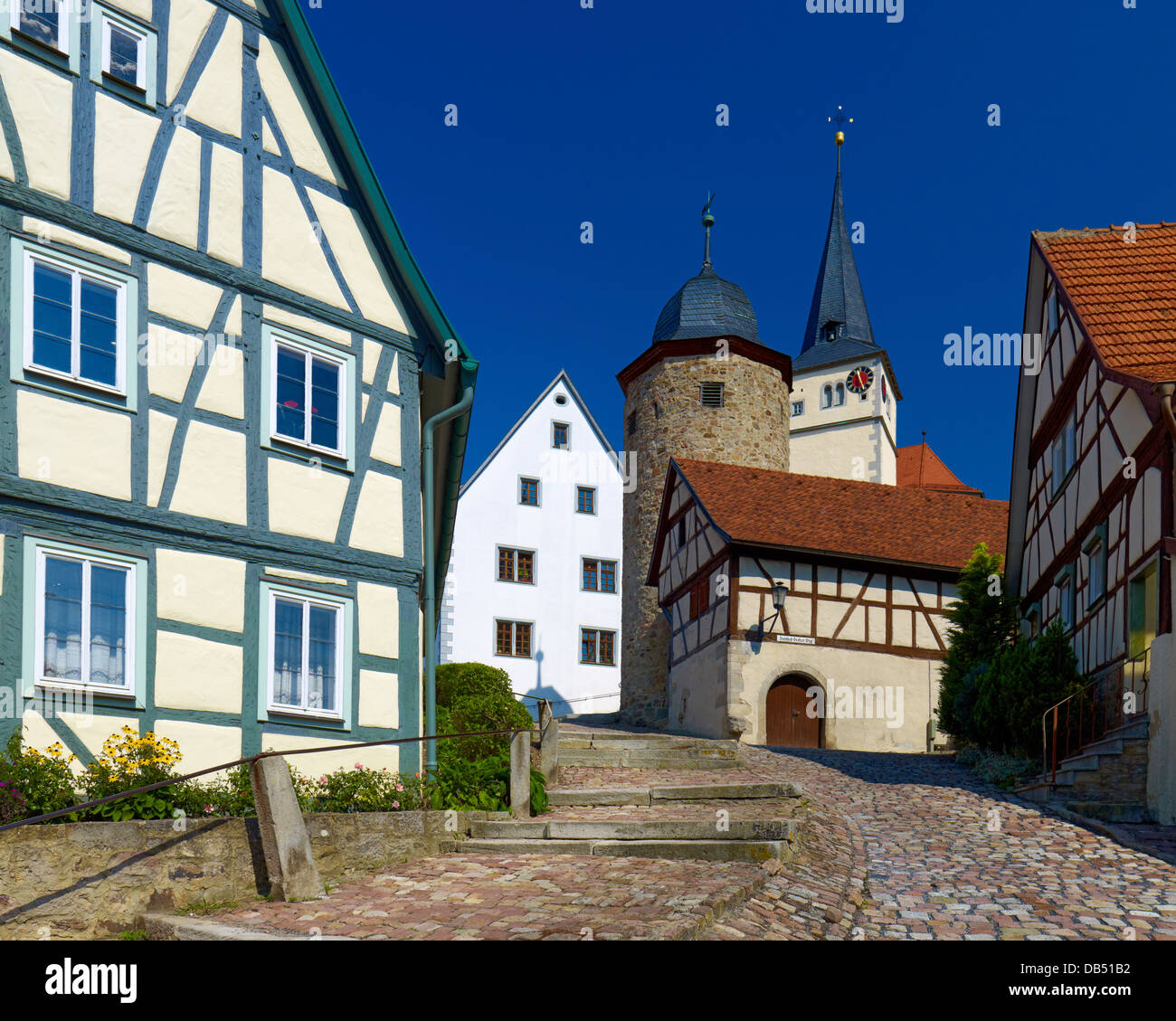 Ascent to church and fortress Nordheim vor der Rhoen, Rhoen Grabfeld district, Lower Franconia, Bavaria, Germany - Stock Image