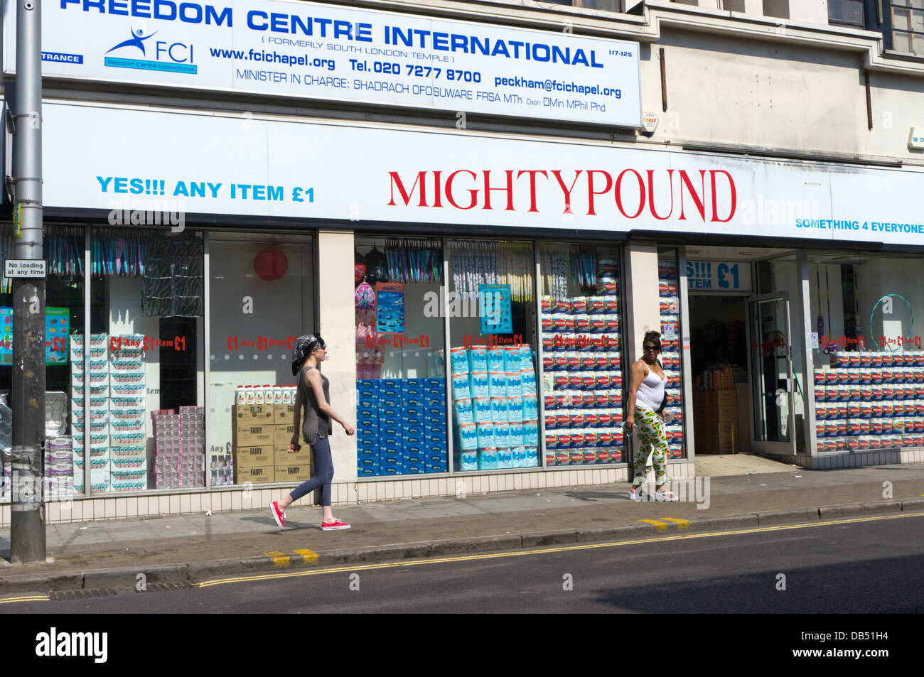 Mighty Pound discount shop in Rye Lane, Peckham. - Stock Image