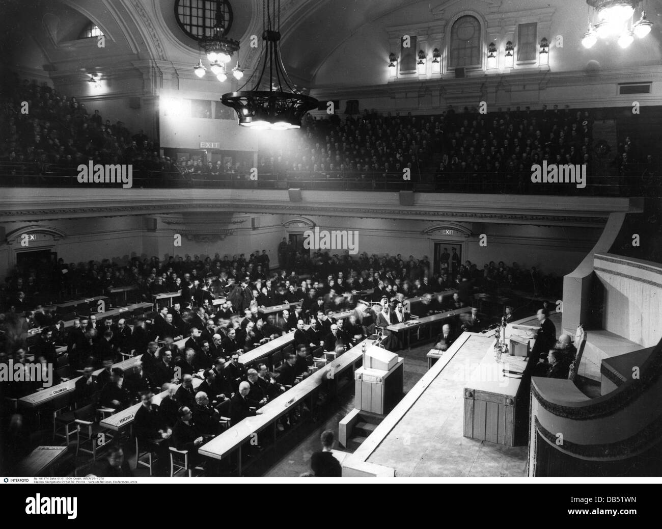 politics, United Nations (UN), conference, first General Assembly, initial meeting, Central Hall Westminster, 10.1.1946, - Stock Image