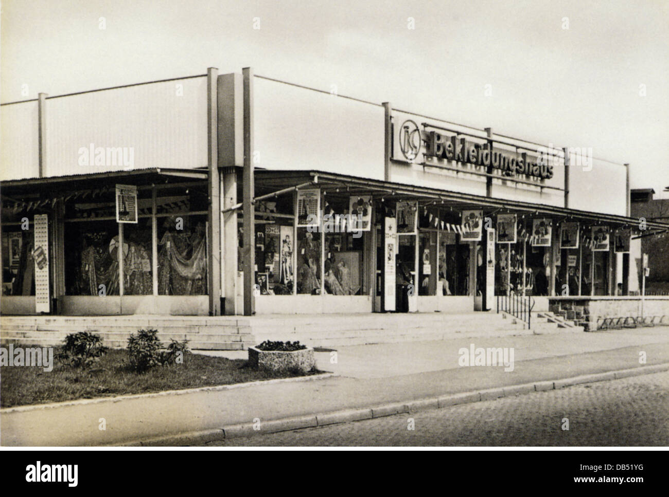trade, shops, Konsum textile store, Floeha, exterior view, Black Forrest, Germany, 1970s, Additional-Rights-Clearences - Stock Image